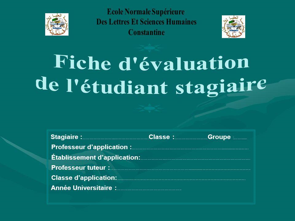 Fiche d évaluation de l étudiant stagiaire