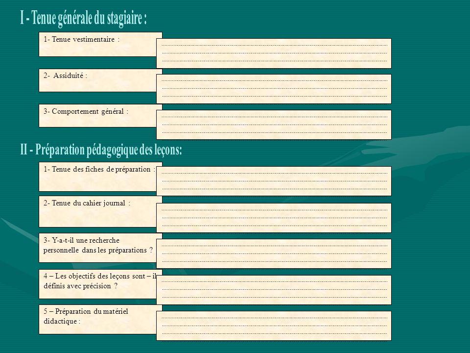 I - Tenue générale du stagiaire :