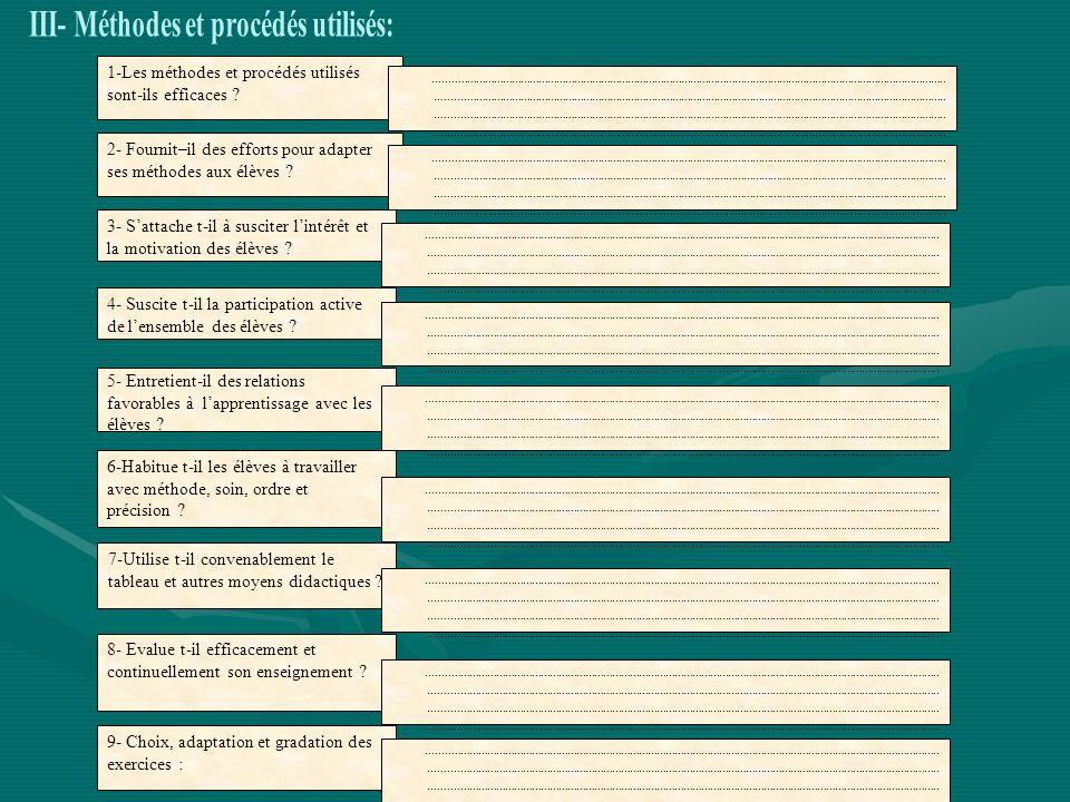 III- Méthodes et procédés utilisés: