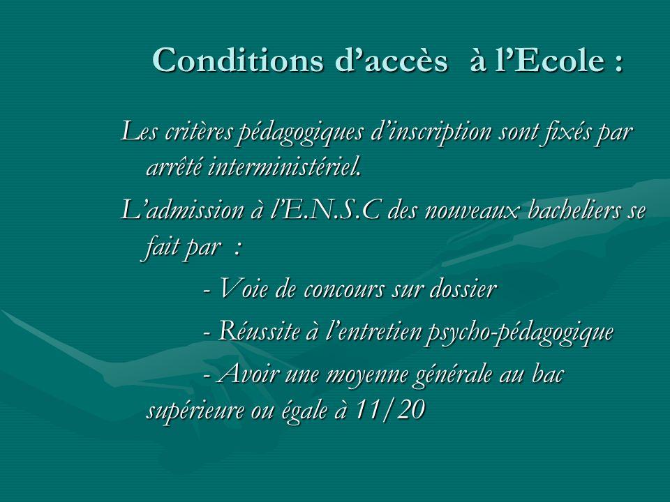 Conditions d'accès à l'Ecole :