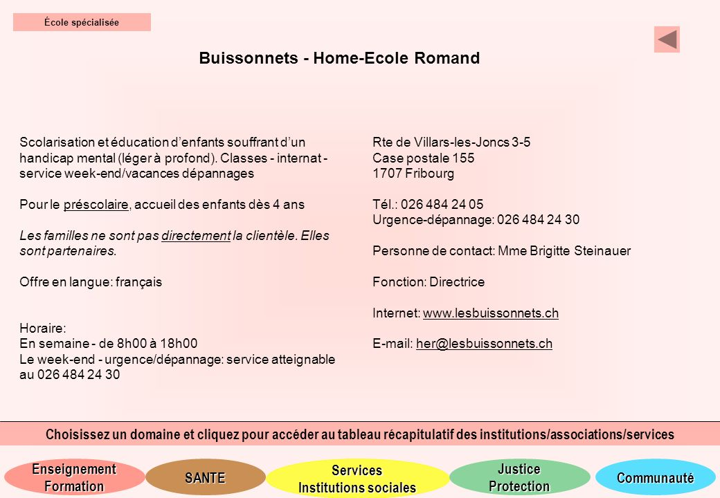 Buissonnets - Home-Ecole Romand