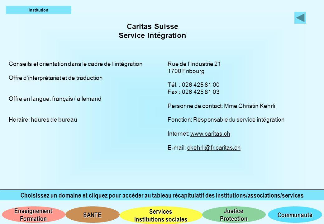 Caritas Suisse Service Intégration