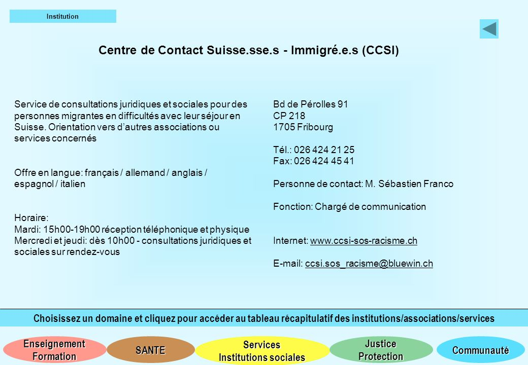 Centre de Contact Suisse.sse.s - Immigré.e.s (CCSI)