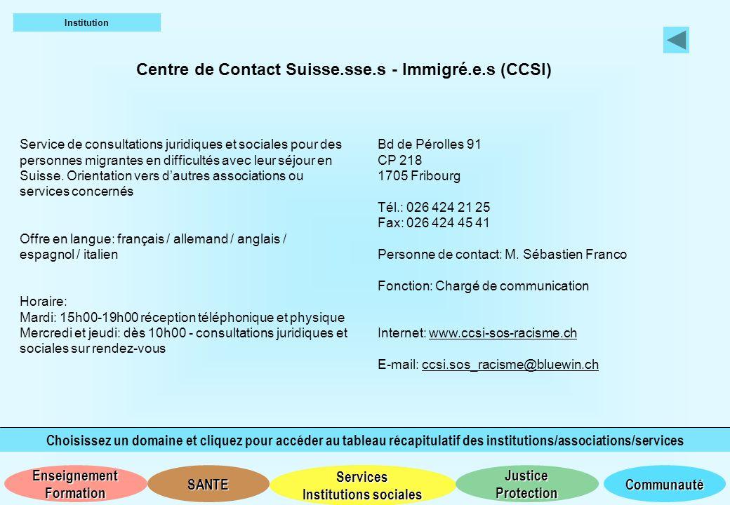 Centre de Contact Suisse.sse.s - Immigré.e.s (CCSI)