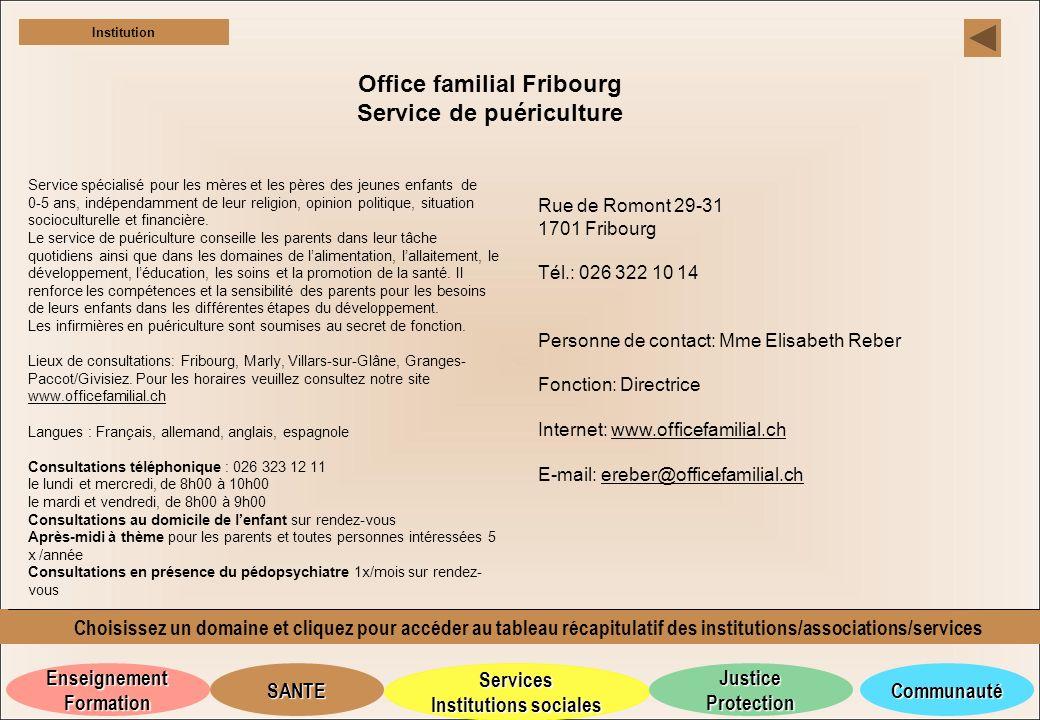 Office familial Fribourg Service de puériculture