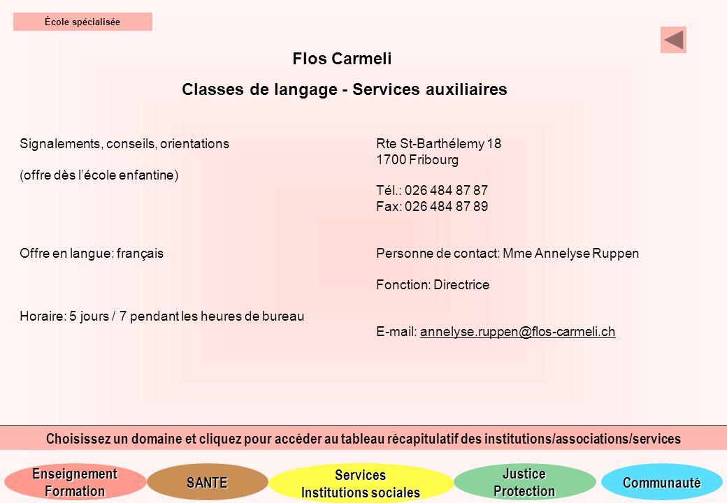 Classes de langage - Services auxiliaires