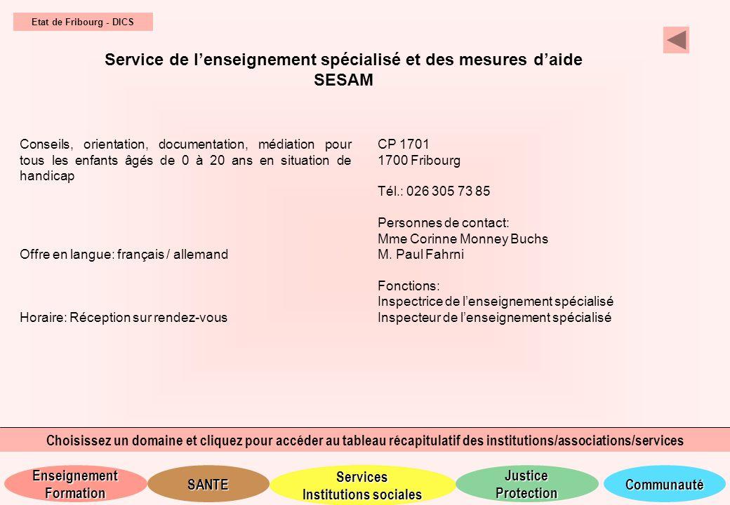 Service de l'enseignement spécialisé et des mesures d'aide SESAM