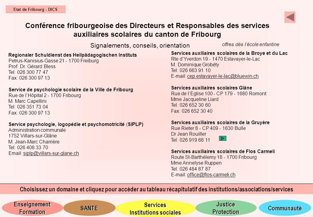 Etat de Fribourg - DICS Conférence fribourgeoise des Directeurs et Responsables des services auxiliaires scolaires du canton de Fribourg.