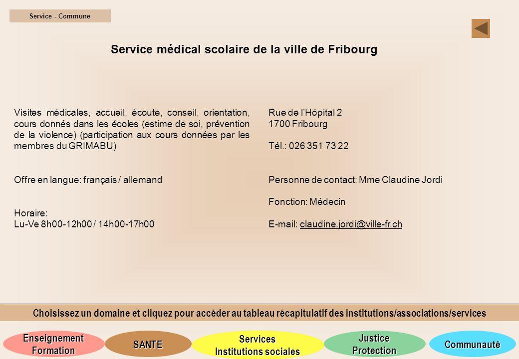 Service médical scolaire de la ville de Fribourg