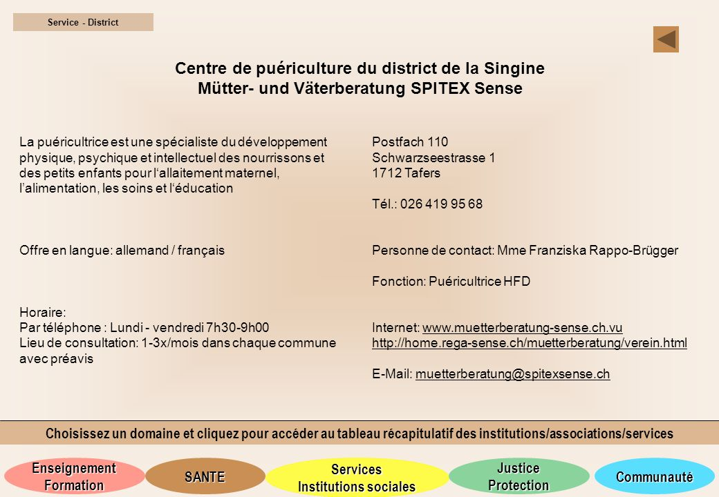Service - District Centre de puériculture du district de la Singine Mütter- und Väterberatung SPITEX Sense.