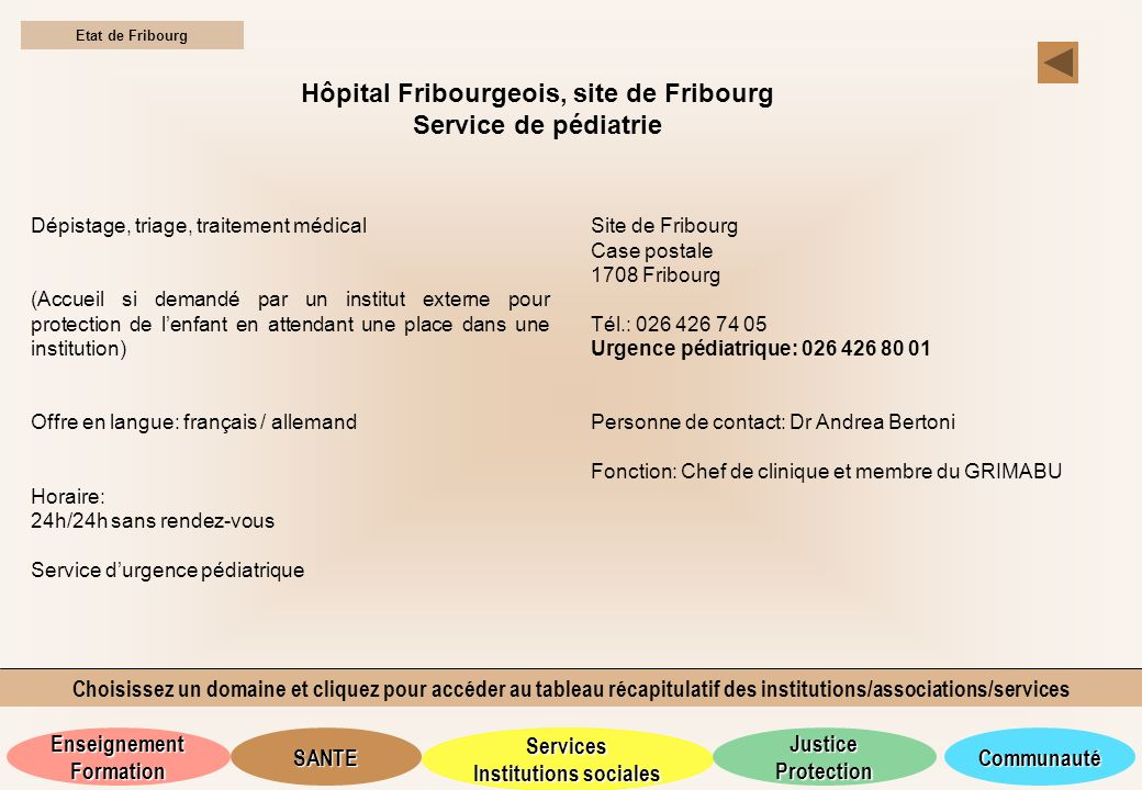 Hôpital Fribourgeois, site de Fribourg