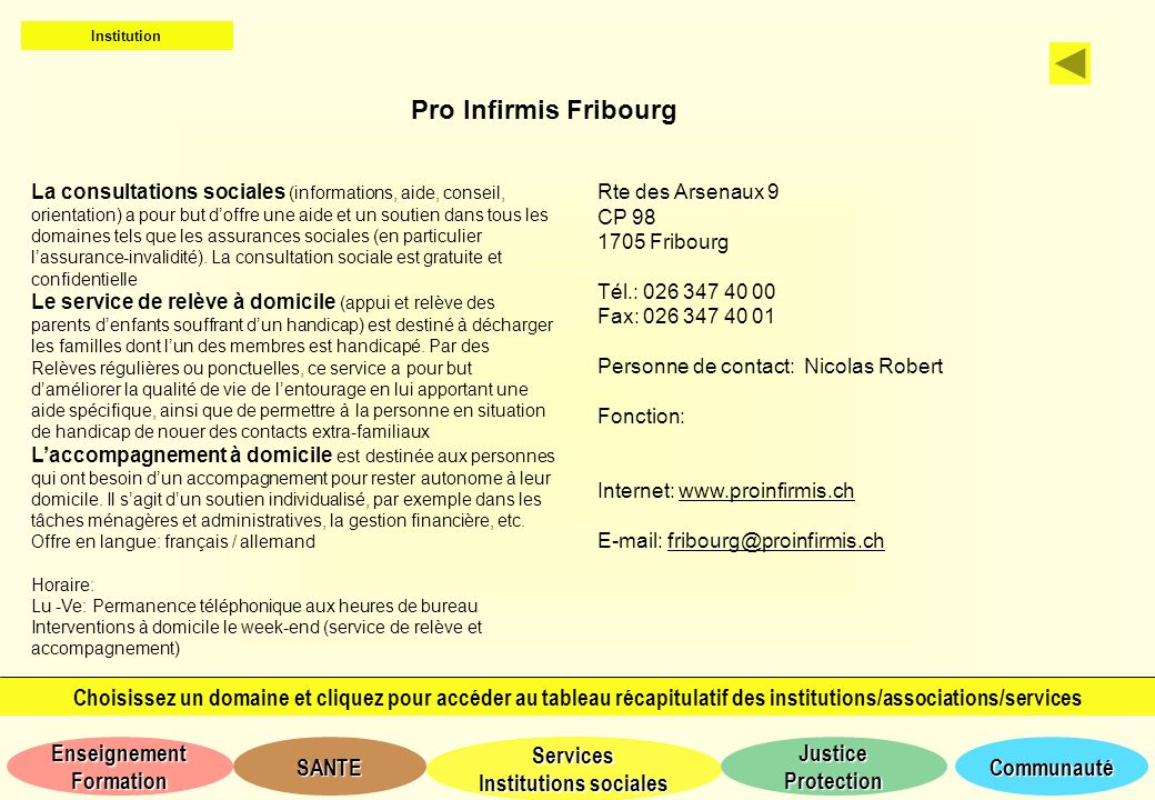 Institution Pro Infirmis Fribourg.