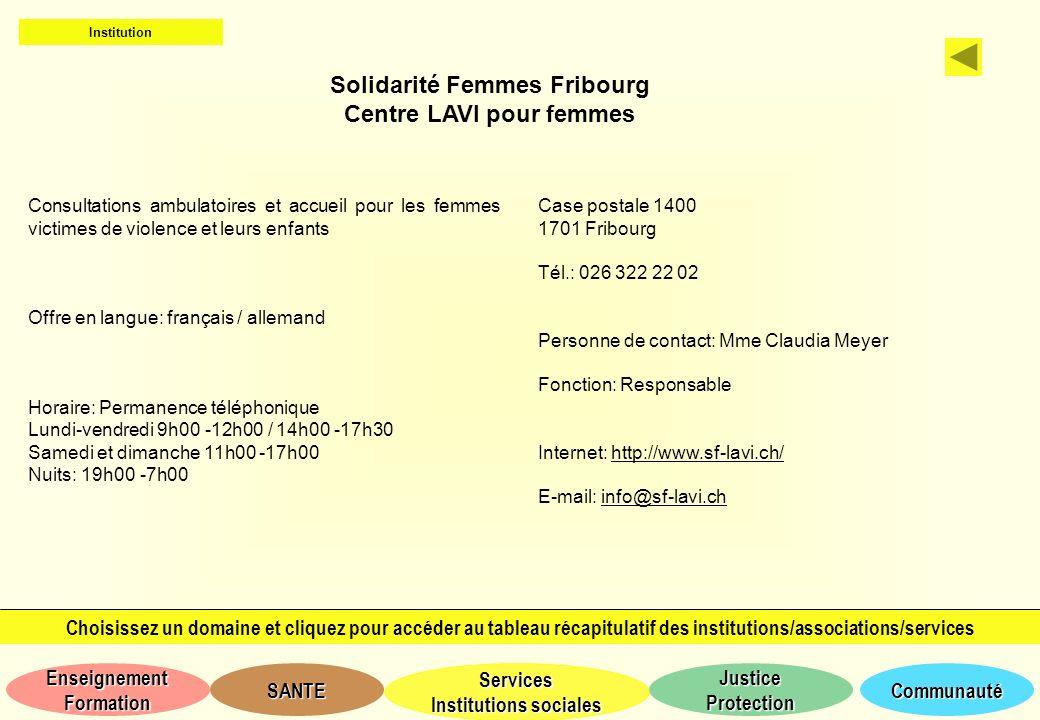 Solidarité Femmes Fribourg Centre LAVI pour femmes