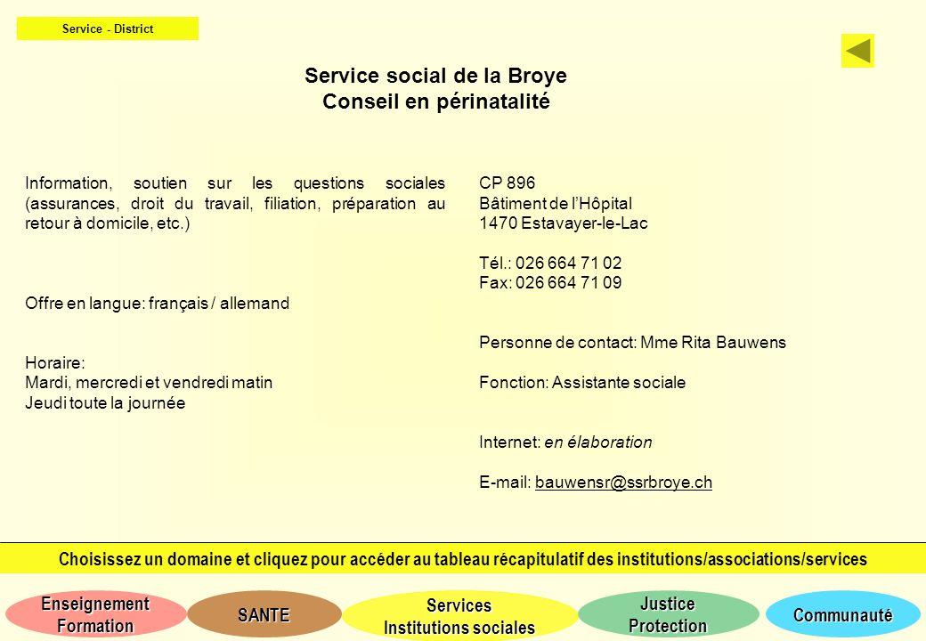 Service social de la Broye Conseil en périnatalité