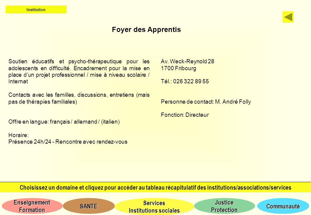 Institution Foyer des Apprentis.