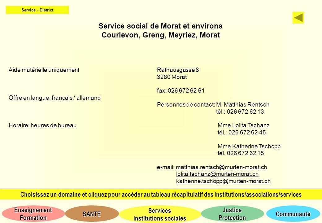 Service social de Morat et environs Courlevon, Greng, Meyriez, Morat