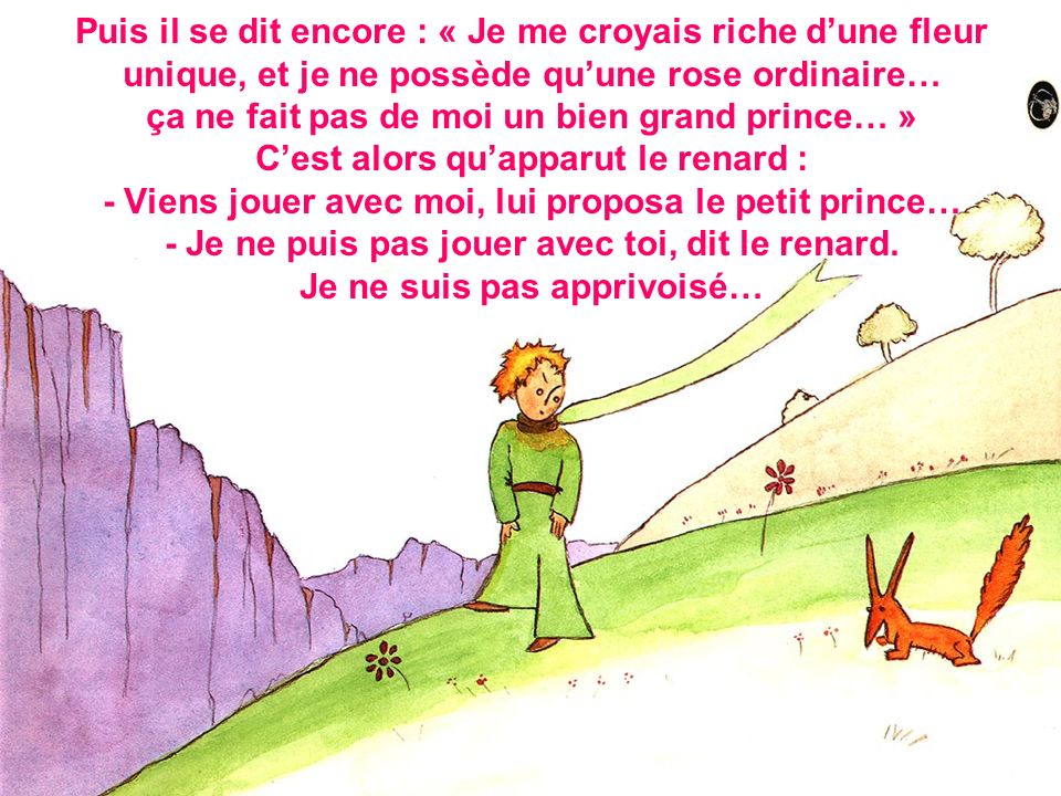 Puis il se dit encore : « Je me croyais riche d'une fleur unique, et je ne possède qu'une rose ordinaire… ça ne fait pas de moi un bien grand prince… » C'est alors qu'apparut le renard : - Viens jouer avec moi, lui proposa le petit prince… - Je ne puis pas jouer avec toi, dit le renard.