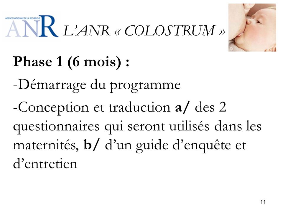 L'ANR « COLOSTRUM » Phase 1 (6 mois) : Démarrage du programme.