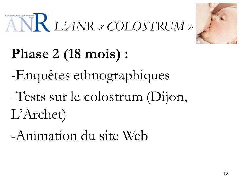 Enquêtes ethnographiques Tests sur le colostrum (Dijon, L'Archet)