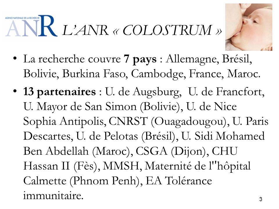 L'ANR « COLOSTRUM » La recherche couvre 7 pays : Allemagne, Brésil, Bolivie, Burkina Faso, Cambodge, France, Maroc.