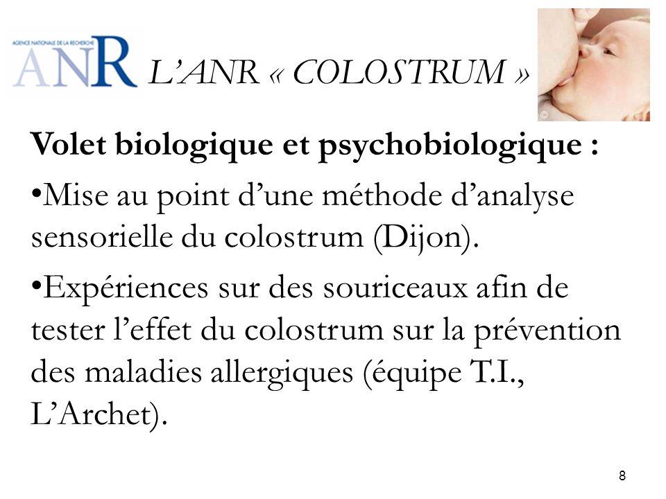 L'ANR « COLOSTRUM » Volet biologique et psychobiologique :