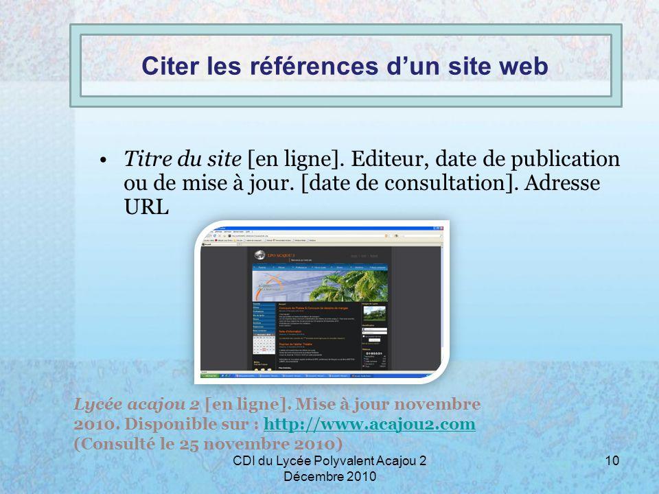 Citer les références d'un site web