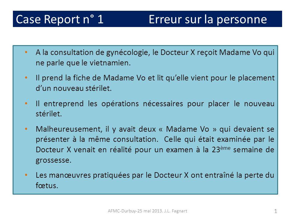 Case Report n° 1 Erreur sur la personne