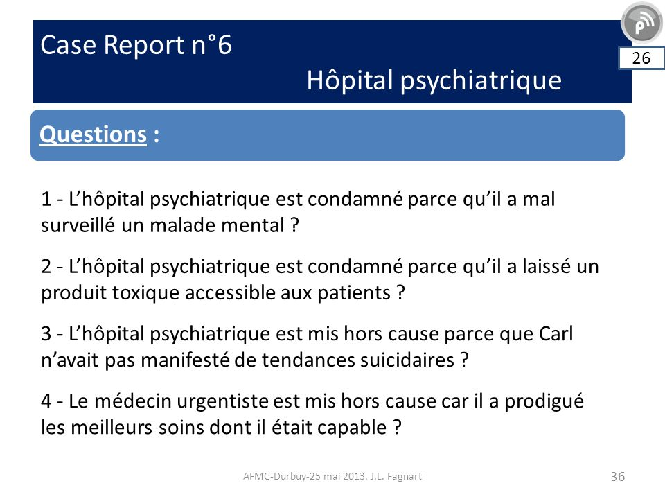 Case Report n°6 Hôpital psychiatrique