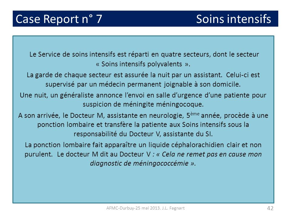 Case Report n° 7 Soins intensifs
