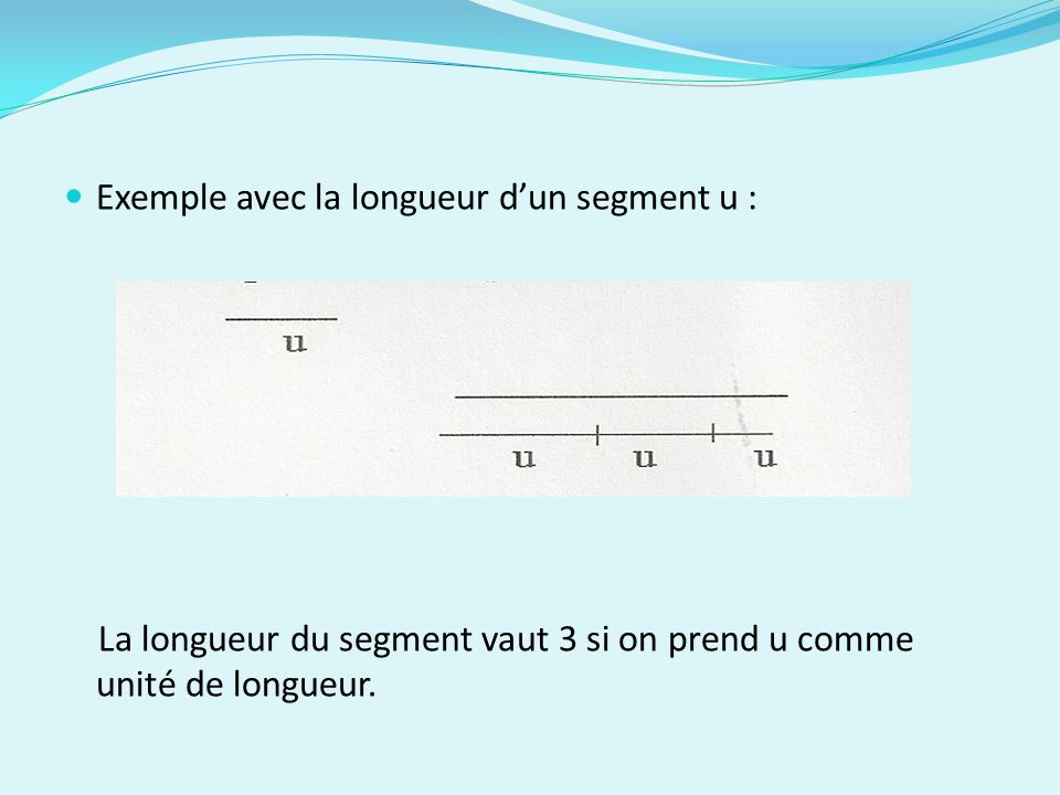 Exemple avec la longueur d'un segment u :