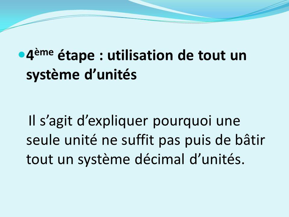4ème étape : utilisation de tout un système d'unités