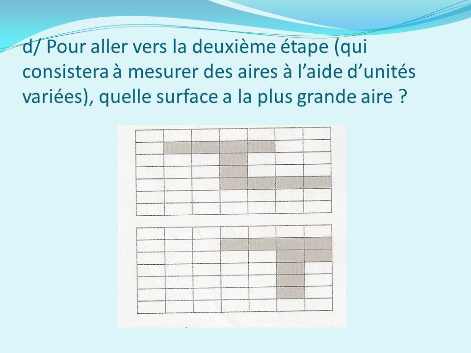 d/ Pour aller vers la deuxième étape (qui consistera à mesurer des aires à l'aide d'unités variées), quelle surface a la plus grande aire