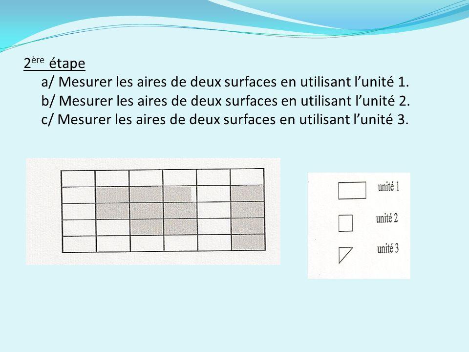 2ère étape a/ Mesurer les aires de deux surfaces en utilisant l'unité 1.