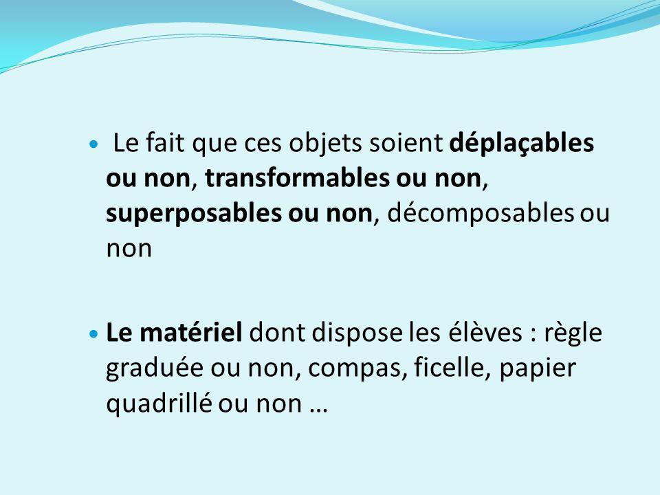 Le fait que ces objets soient déplaçables ou non, transformables ou non, superposables ou non, décomposables ou non