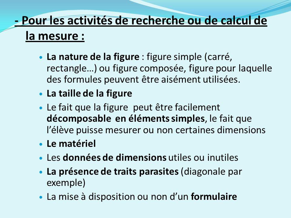 - Pour les activités de recherche ou de calcul de la mesure :