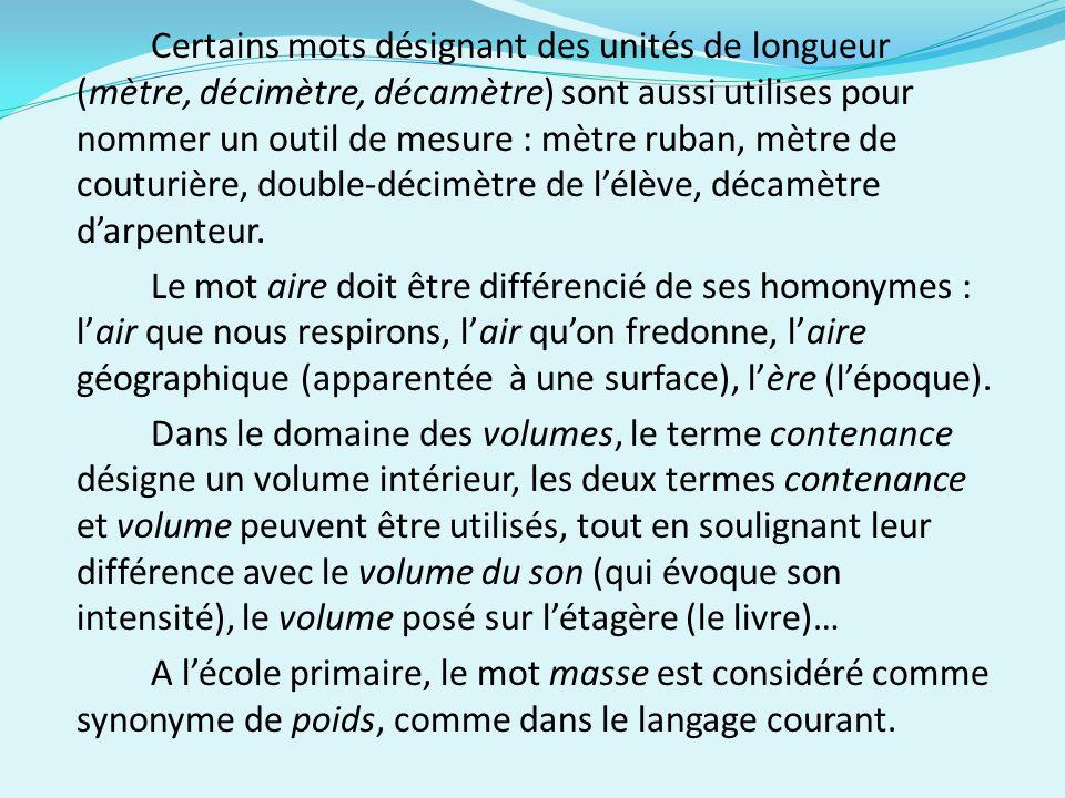Certains mots désignant des unités de longueur (mètre, décimètre, décamètre) sont aussi utilises pour nommer un outil de mesure : mètre ruban, mètre de couturière, double-décimètre de l'élève, décamètre d'arpenteur.