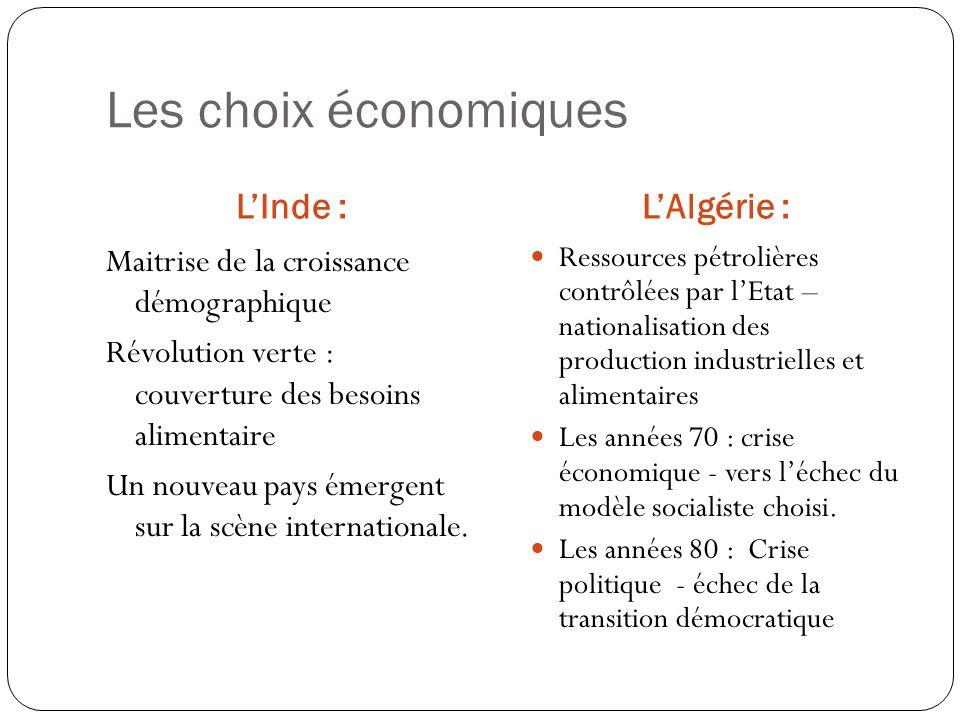 Les choix économiques L'Inde : L'Algérie :