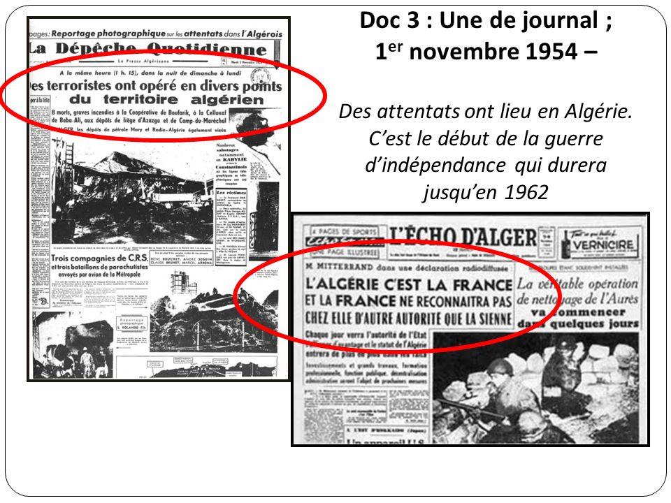 Doc 3 : Une de journal ; 1er novembre 1954 –