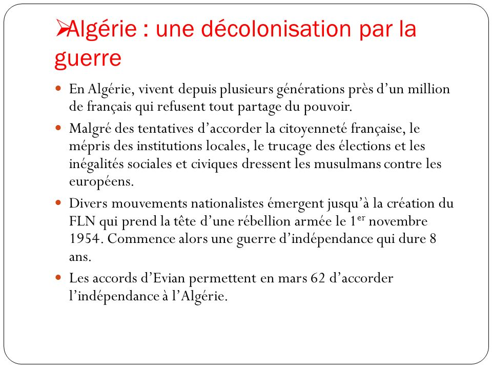 Algérie : une décolonisation par la guerre