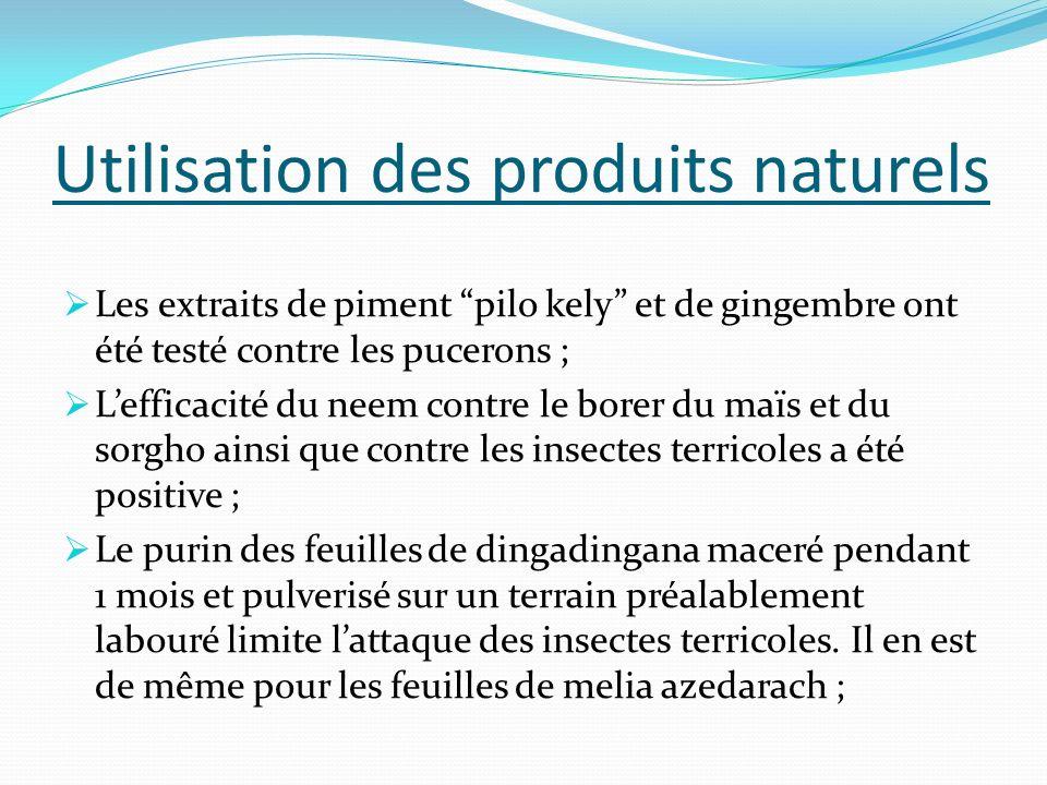 Utilisation des produits naturels
