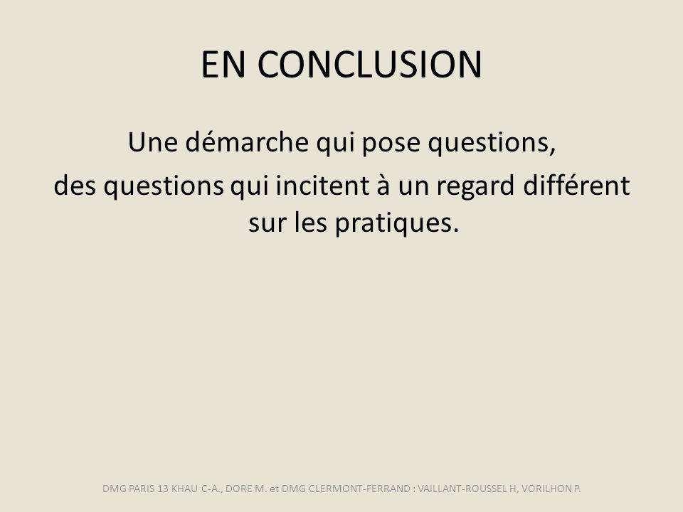 EN CONCLUSION Une démarche qui pose questions, des questions qui incitent à un regard différent sur les pratiques.