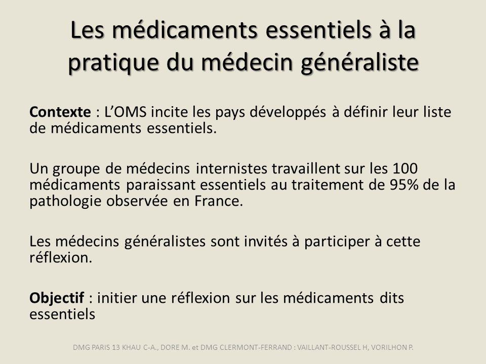 Les médicaments essentiels à la pratique du médecin généraliste