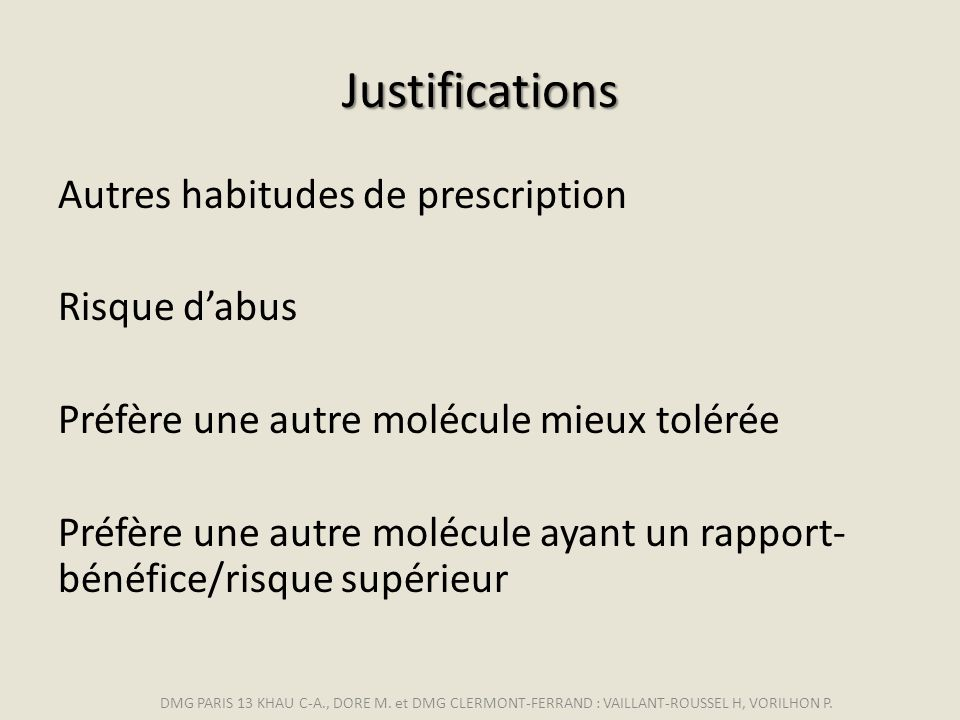 Justifications Autres habitudes de prescription Risque d'abus