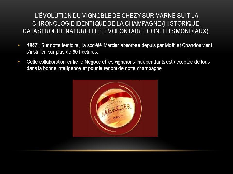 L'évolution du vignoble de Chézy sur Marne suit la chronologie identique de la Champagne (historique, catastrophe naturelle et volontaire, conflits mondiaux).
