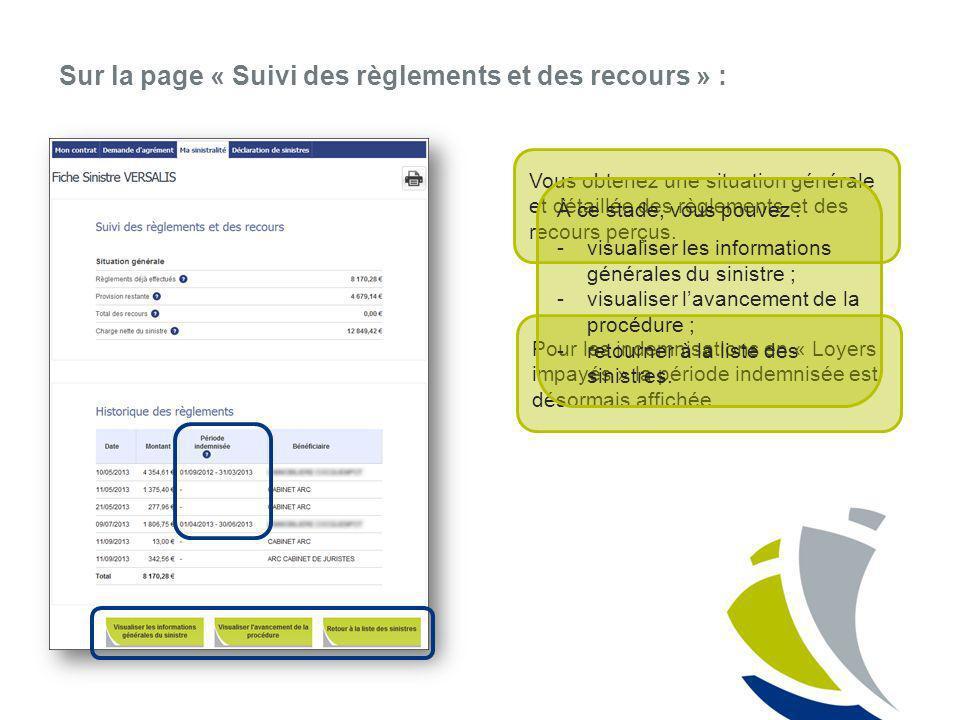 Sur la page « Suivi des règlements et des recours » :