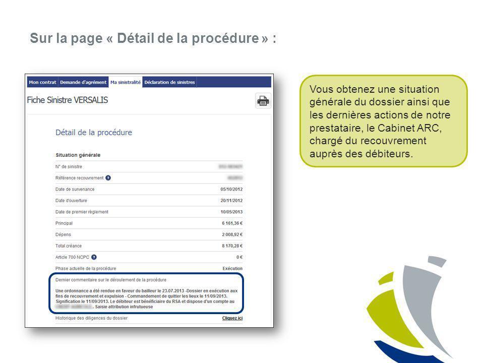 Sur la page « Détail de la procédure » :