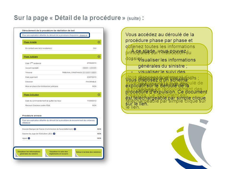 Sur la page « Détail de la procédure » (suite) :