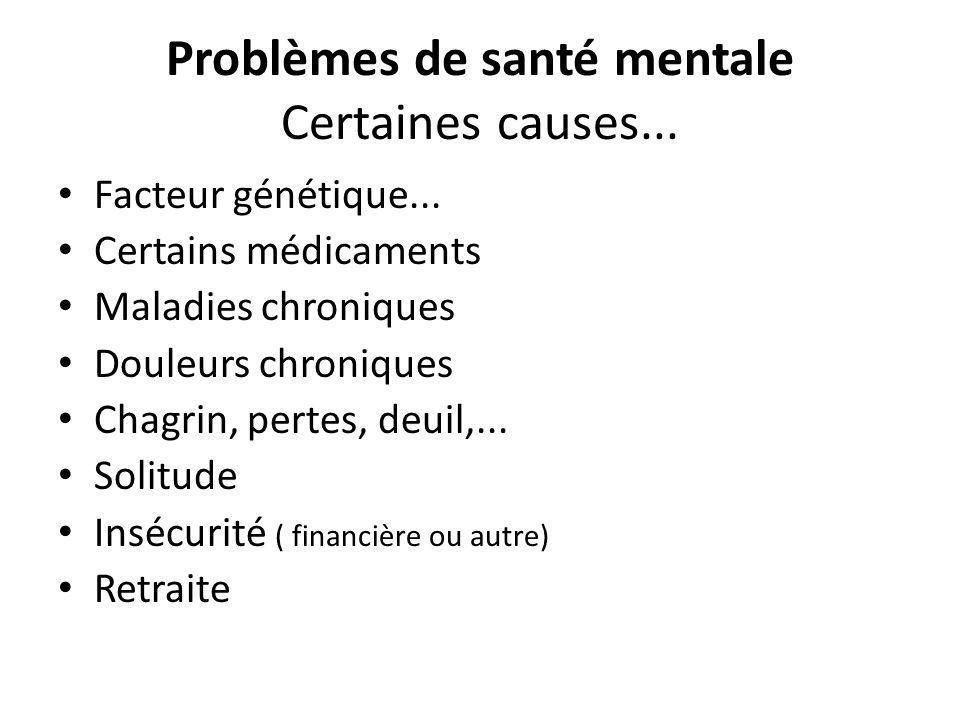 Problèmes de santé mentale Certaines causes...