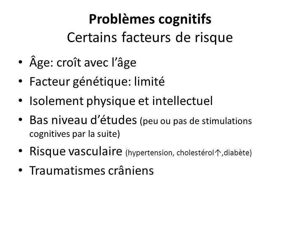 Problèmes cognitifs Certains facteurs de risque