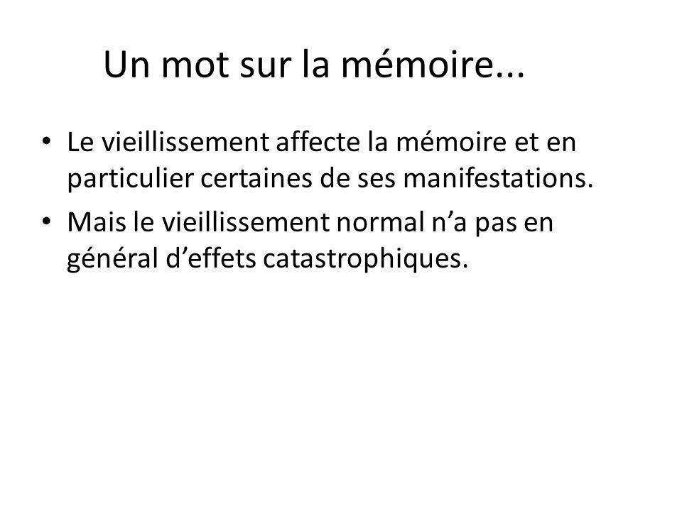 Un mot sur la mémoire... Le vieillissement affecte la mémoire et en particulier certaines de ses manifestations.